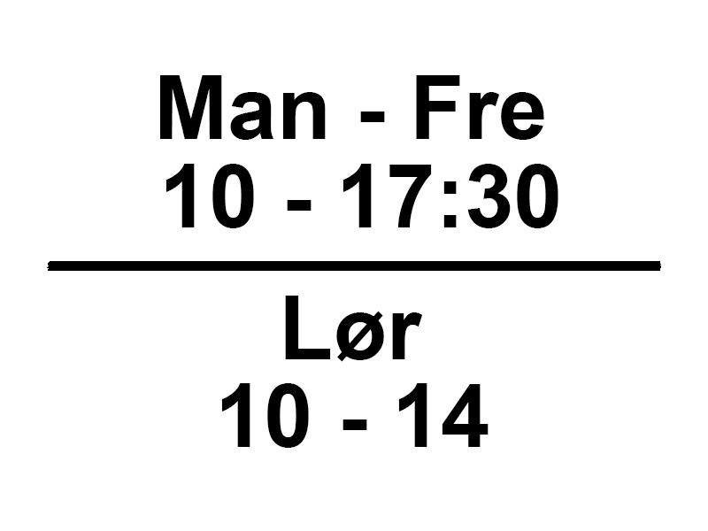 Vores åbningstider mandag til fredag klokken 10-17:30 og lørdag klokken 10-14