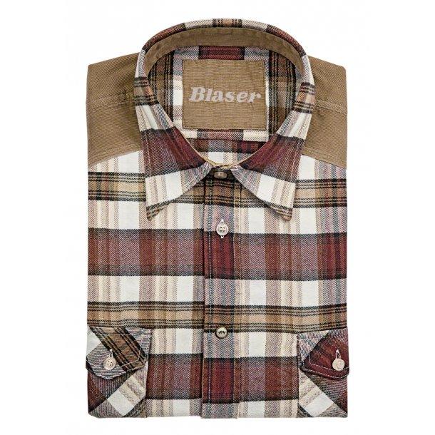 Jakob Heavy flannel Skjorte Creme / Red Checkered