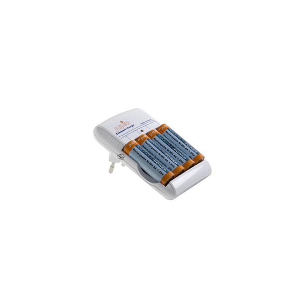 Kompakt Oplader inkl. 4 AA batterier (2700mAh)